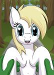 <3 <3_eyes anon aryanne aryanne_(character) blonde_hair blue_eyes disembodied_hand duo earth_pony equine fan_character female forest green_skin gsuus_(artist) hair horse mammal my_little_pony navel pony road smile text tree