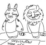 anthro black_and_white cliff_(weaver) disney doll duo fan_character feline half-closed_eyes lion male mammal monochrome neil_(weaver) pack_street sign simple_background smug text the_weaver tiger zootopiaRating: SafeScore: 1User: CorniscopicDate: April 04, 2017