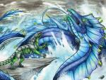 2018 claws day detailed_background dragon duo feral green_eyes horn leviathan natoli open_mouth outside partially_submerged sky spines teeth traditional_media_(artwork) waterRating: SafeScore: 5User: MillcoreDate: June 19, 2018