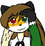 anthro bust_portrait canine female fox furseiseki_(character) green_eyes heterochromia mammal parody portrait red_eyes solo taski