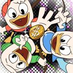 2018 4_fingers anthro avian beak bird bird's-eye_view clothed clothing coin dewey_duck digital_drawing_(artwork) digital_media_(artwork) disney dotted_background duck ducktales ducktales_(2017) feathers gold_(metal) gold_coin group high-angle_view holding_object holding_whip huey_duck louie_duck money open_mouth open_smile pattern_background reaching signature simple_background smile tettyamansp webbed_feet whip white_feathers yellow_beakRating: SafeScore: 1User: BooruHitomiDate: April 14, 2018