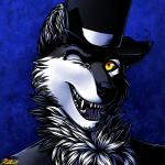 2017 anthro black_fur black_nose black_sclera blue_background canine dog fur hat husky looking_at_viewer male mammal one_eye_closed open_mouth ratte simple_background solo teeth thehuskyk9 top_hat white_fur wink yellow_eyes