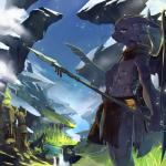 2014 abs absurd_res anthro anthrofied chilon clothing cloud dragon grass hi_res horn how_to_train_your_dragon loincloth looking_at_viewer male melee_weapon membranous_wings muscular night_fury outside polearm river scalie sculpture sky solo spear statue toothless tree water weapon wings yellow_eyes