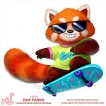 2018 ambiguous_gender anthro bottomless brown_fur clothed clothing cryptid-creations eyewear fur grin humor mammal orange_fur pun red_panda skateboard smile solo sunglasses teeth white_fur