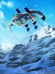 anthro day detailed_background digital_media_(artwork) feline fur grey_fur leopard male mammal ocelotlrama outside sky snow_leopard solo