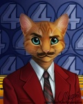 abstract_background alternate_species anchorman anthro blue_eyes cat clothed clothing facial_hair feline furrification looking_at_viewer magpie_(artist) male mammal mustache necktie parody ron_burgundy simple_background solo suit whiskers