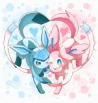 <3 ambiguous_gender big_ears blue_eyes blue_fur blue_paws blush bow cute duo eeveelution feral fur glaceon looking_at_viewer nintendo paws pink_fur pink_paws pokémon ribbons simple_background smile sylveon video_games walking white_fur ねる