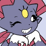 female low_res meme nintendo one_eye_closed pokémon solo teckworks u_r_simgle video_games weavile wink