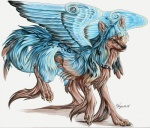 ambiguous_gender canine feathered_wings feathers feral looking_at_viewer lyanti mammal markings solo tribal unusual_coloring wings