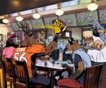 alcohol american_football anthro antlers avian ball beverage billmund bird canine cervine chair clothed clothing deer dog feline food football_(ball) fox gloves group hi_res holding_ball holding_food holding_object horn hot_dog inside jersey male mammal nachos nbc open_mouth open_smile owl pigeon restaurant sitting smile sport table television
