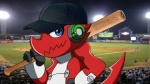 16:9 baseball_base baseball_bat baseball_cap baseball_field blue_eyes digimon hat kairoxz male photo_background red_body shoutmon solo weapon_on_shoulder