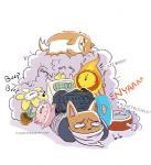 alarm_clock annoying_dog_(undertale) bound burgerpants canine cat clock crown dog english_text feline fire flower fluffymilktea gag gagged mammal plant text undertale video_gamesRating: SafeScore: 5User: Alm-PeDate: November 27, 2017