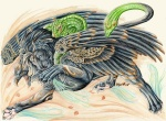 ambiguous_gender avian beak bird chimera eagle feathered_wings feathers feline feral gryphon hybrid lion looking_at_viewer lyanti mammal markings reptile scalie snake snake_tail solo unusual_coloring wings