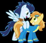 blue_feathers blue_hair braeburn_(mlp) duo earth_pony equine feathered_wings feathers feral friendship_is_magic fur green_eyes hair horse low_res male mammal maximillianveers my_little_pony pegasus pony soarin_(mlp) wings wonderbolts_(mlp) wonderbolts_uniform