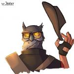 animal_head avian bird clothing derp_eyes eyewear fingerless_gloves glasses gloves hat hi_res holding_hat humor jedayskayvoker male owl simple_background sir_shootsalot sniper_(team_fortress_2) solo team_fortress_2 valve video_games white_background yellow_sclera