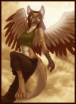 2010 anthro armpits avian brown_hair clothing feathered_wings feathers female gryphon hair long_hair pants shirt solo tank_top tasanko wings yellow_eyesRating: SafeScore: 8User: RiversydeDate: June 29, 2010