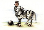ball_and_chain beige_skin black_fur bottomless bound centaur clothed clothing day equine equine_taur fur grass hands_behind_back hat hooves looking_aside looking_at_viewer male mammal outside prisoner shackles shirt side_view solo stripes taur unknown_artist white_fur zebraRating: SafeScore: 0User: MunkelzahnDate: June 29, 2010