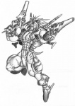 anthro armor gun hedgehog holding_object holding_weapon jmadoc male mammal melee_weapon muscular ranged_weapon solo sword traditional_media_(artwork) weapon