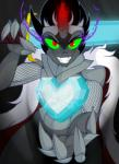 anthro anthrofied armor black_hair cape clothing crown crystal crystal_heart digital_media_(artwork) equine eye_mist fangs friendship_is_magic gauntlets gloves grin hair hi_res horn jrvanesbroek king_sombra_(mlp) looking_at_viewer male mammal melee_weapon my_little_pony red_eyes smile solo sword unicorn weaponRating: SafeScore: 3User: 2DUKDate: June 19, 2018