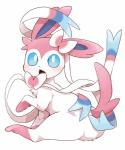2017 ambiguous_gender blue_eyes blush cute dagasi daww eeveelution feral fur hi_res looking_at_viewer nintendo open_mouth paws pink_fur pokémon pokémon_(species) ribbons simple_background solo sylveon video_games white_background white_furRating: SafeScore: 58User: GranberiaDate: August 28, 2017