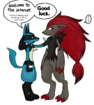 ... ambiguous_gender anthro barefoot black_eyes black_fur black_nose blue_fur canine claws dialogue duo english_text fluffy fluffy_tail fur hair hand_on_shoulder humor long_hair lucario mammal nintendo paws pokémon pokémon_(species) red_claws red_eyes red_hair sa-chan04 simple_background standing surprise sweat sweatdrop text the_truth traditional_media_(artwork) video_games watercolor_(artwork) white_background yellow_fur zoroarkRating: SafeScore: 35User: CarowayDate: April 24, 2010