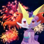 blush bow braixen clothing fangs female fireworks flower hand_up japanese_clothing kimono looking_at_viewer nintendo open_mouth pink_kimono plant pokémon pokémon_(species) purple_bow red_eyes smile solo teeth unknown_artist video_games