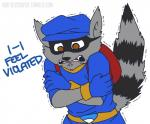 5_fingers anthro ask-slycooper_(artist) black_fur black_nose brown_eyes clothed clothing crossed_arms dialogue english_text flat_cap front_view fur gloves grey_fur half_portrait hat male mammal mask motion_lines open_mouth procyonid raccoon raised_tail reaction_image shaking shivering simple_background sly_cooper sly_cooper_(series) solo teeth text tunic video_games white_background