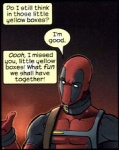 breaking_the_fourth_wall collar comic costume deadpool english_text human low_res male mammal marvel mask not_furry solo text unknown_artist