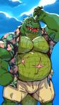 2018 5_fingers alligator anthro belly biceps bulge clothed clothing cloud crocodilian facial_scar floral_shirt male muscular muscular_male navel open_mouth open_shirt overweight overweight_male pecs reptile scalie scar short sky solo taorenRating: SafeScore: 6User: BrokenClockDate: June 18, 2018