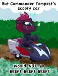 ! 2017 armor blush broken_horn car cloud cute dirt english_text equine eye_scar eyelashes female fizzlepop_berrytwist_(mlp) grass hair horn mammal my_little_pony my_little_pony_the_movie outside pink_hair scar sitting sky snorting solo solo_focus teal_eyes teeth tempest_shadow_(mlp) texasuberalles text unicorn vehicle