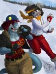 anthro beanie canine clothed clothing diadorin duo female fish hat mammal marine open_mouth outside running scarf shark smile snowballRating: SafeScore: 1User: Cat-in-FlightDate: April 23, 2017