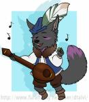 anthro banjo canine clothed clothing dtalvi eyes_closed fur hair hat male mammal musical_instrument open_mouth solo standing