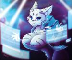 2018 anthro big_breasts blue_eyes breasts cleavage clothed clothing don_ko feline female mammal queen_of_cats ready_player_one smile solo stripes