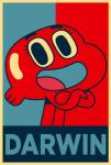 big_eyes border cartoon_network character_name crossed_arms darwin_watterson english_text fish goldfish looking_at_viewer marine nude obamicon open_mouth open_smile osopod2 parody restricted_palette shiny smile solo standing text the_amazing_world_of_gumball tongue toony young