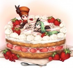ambiguous_gender barefoot cake cake_sitting food fruit humanoid joltik_(artist) legendary_pokémon meloetta micro nintendo not_furry pokémon pokémon_(species) strawberry video_games