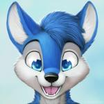 2016 anthro big_eyes black_nose blue_eyes blue_fur blue_hair canine cute detailed digital_media_(artwork) eye_reflection front_view fur hair headshot_portrait jamesfoxbr lineless looking_at_viewer male mammal nude open_mouth portrait short_hair simple_background smile solo teeth tongue toony white_fur wolf