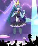 2018 <3 anthro blue_eyes blue_fur bow_tie breasts canine clothing cosplay crossgender dress female fox fur fur_markings hair hatsune_miku here-kitty--kitty holding_object legwear long_hair looking_at_viewer mammal markings microphone one_eye_closed open_mouth pigtails roflfox singing solo standing stockings v_sign vocaloid white_fur wink wrist_cuff