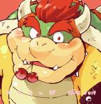 blush bowser cherry food food_in_mouth fruit garouzuki hair horn japanese_text koopa looking_at_viewer mario_bros nintendo red_eyes red_hair scalie simple_background slightly_chubby solo text video_gamesRating: SafeScore: 5User: ZestDate: April 19, 2017