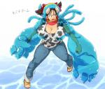 3_fingers animal_humanoid big_breasts bovine breasts brown_hair cattle cleavage clothed clothing cow_humanoid cow_print duo female footwear goo_creature hair hataraki_ari horn huge_breasts humanoid japanese_text jeans living_clothing mammal open_mouth pants sandals shirt short_hair slime sukimi_(hataraki) text translation_request yellow_eyes