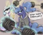 2017 banana blue_hair buttersprinkle clothed_feral dumbbell duo eating english_text equine eyewear female feral food friendship_is_magic fruit hair horn looking_at_viewer magic mammal multicolored_hair my_little_pony princess_celestia_(mlp) princess_luna_(mlp) sunglasses text unicorn weightsRating: SafeScore: 2User: ConsciousDonkeyDate: March 30, 2017