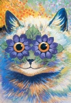 ambiguous_gender cat colorful feline feral flower leaf looking_at_viewer louis_wain mammal orange_eyes plant proper_art public_domain smile solo surreal traditional_media_(artwork) what