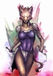 armor breasts cat clothing cougar dagger dual_wielding feline female holding_object holding_weapon loincloth magic_the_gathering mammal melee_weapon mirri_cat_warrior purple_eyes solo unconvincing_armor unimpressed warrior weapon yen_rin 炎鱗
