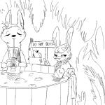 2018 anthro apple banana beverage black_and_white canine disney drinking duo english_text eyes_closed facial_markings female flower flower_necklace food fox fruit fur_markings half-closed_eyes holding_object hot_tub jack_savage lagomorph lei looking_at_viewer male mammal markings monochrome nude partially_submerged plant rabbit replytoanons scar sign skye_(zootopia) straw text towel tree water zootopiaRating: SafeScore: 2User: JAKXXX3Date: March 25, 2018