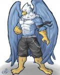 abs anthro avian beak biceps big_muscles bird blue_feathers clothed clothing falcon feathers looking_at_viewer male manly muscular muscular_male open_mouth pecs phoom shorts solo toplessRating: SafeScore: 0User: 123d123Date: May 23, 2018