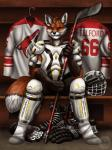 anthro canine clothing fox hockey legwear locker_room looking_at_viewer mammal sabretoothed_ermine socks solo sport sports_pads telford
