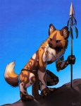 2013 african_wild_dog anthro black_nose blue_eyes brown_fur canine claws clothed clothing cute digital_media_(artwork) falvie feathers fur loincloth male mammal melee_weapon outside polearm sky solo spear topless tribal utunu weapon white_furRating: SafeScore: 42User: Der_TraubenfuchsDate: January 10, 2013