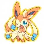 2013 ambiguous_gender blue_eyes blush bow_tie cute eeveelution feral fur hair_bow hair_ribbon huiro looking_at_viewer mammal nintendo one_eye_closed pink_fur pokémon ribbons solo sylveon video_games wink
