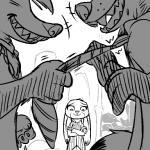 anthro black_and_white canine clothed clothing disney female fox grin group honey_(zootopia) honey_badger jewelry judy_hopps lagomorph male mammal monochrome mustelid necklace necktie necktie_pull nick_wilde rabbit replytoanons sharp_teeth shirt smile sweat sweatdrop teeth zootopiaRating: SafeScore: 0User: CorniscopicDate: February 26, 2017