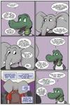 2017 alligator angie_(study_partners) anthro clothed clothing comic crocodilian crowd elephant english_text fangs green_eyes group mammal open_mouth ragdoll_(study_partners) reptile scalie silhouette speech_bubble study_partners teeth text thunderouserections tongue trunk tusks young