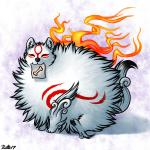 2017 amaterasu canine deity eyes_closed feral fluffy fur mammal poof ratte solo video_games white_fur wolf Ōkami